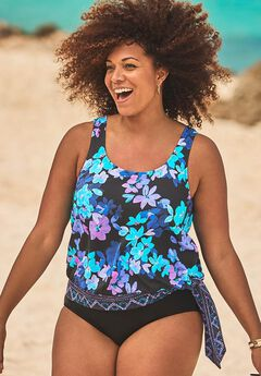 Blouson Swim Tank, BRIGHT BLUE FLOWERS