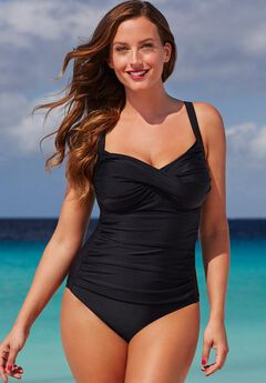 Twist-Front One-Piece Swimsuit, BLACK