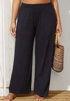 Beach Pant with Smocked Waist Cover Up, BLACK
