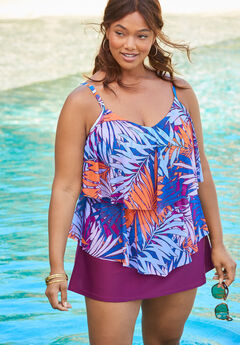 Double-Tier Tankini Top in Mesh, MULTI PALM LEAF