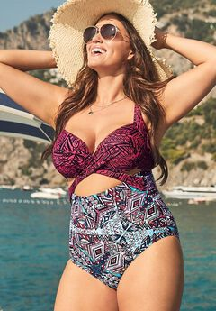 Cut Out Underwire One Piece Swimsuit, AZTEC