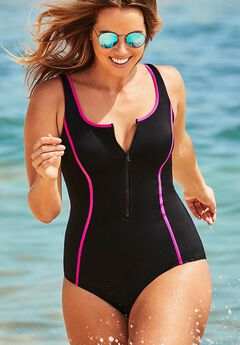 Lycra Xtra Life Pink Zip-Front One Piece Swimsuit,