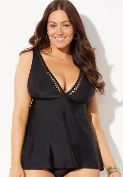 Black Plunge Flared Tankini Top,