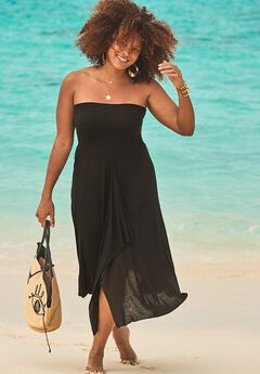 Convertible Cover Up Dress, BLACK