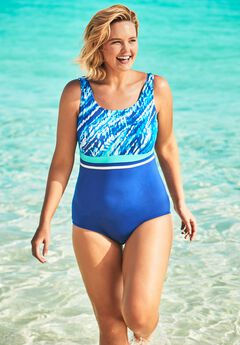 Empire-Waist Swimsuit with Molded Bra,