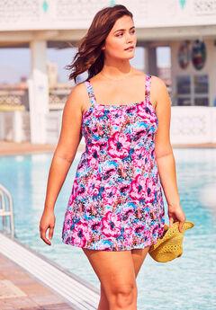 Princess Seam Swimdress, PATCHWORK FLOWERS