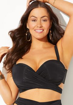 GabiFresh Wrap Cup Sized Underwire Bikini Top, BLACK