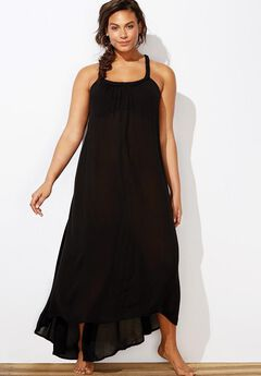 Braided Maxi Dress Swimsuit Cover Up, BLACK