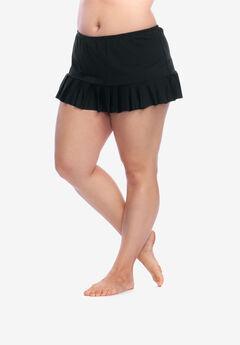 Mid-Rise Pleated Swim Skirt by 24th&Ocean, BLACK