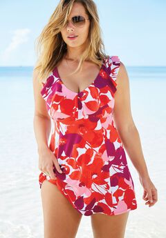 Ruffle Neck Swimdress by Swimsuitsforall,