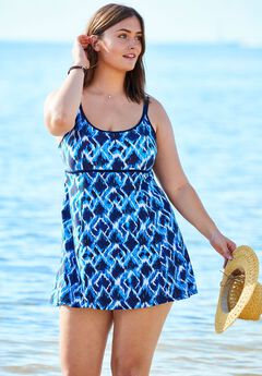 1683ba00471e4 Empire-Waist Swimdress with Double Straps