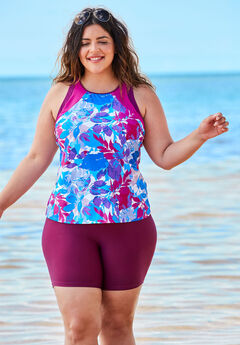 Colorblock Tankini Top with Sun Protection, BLUE MULTI FLORAL