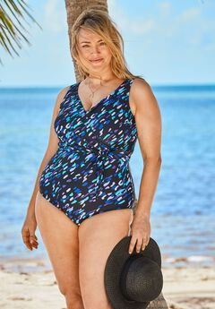 Front-Tie One-Piece with Wrap Detail, TWILIGHT BRUSHSTROKE