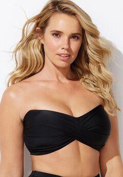 Twist-Front Bikini Top, BLACK