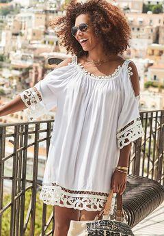 Vera Crochet Cold Shoulder Cover Up Dress,