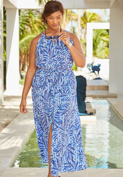 Keyhole Maxi Cover Up, DREAM BLUE PALM