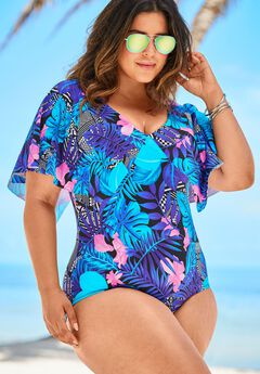 Flutter-Sleeve One-Piece, BLUE TROPICAL FLORAL
