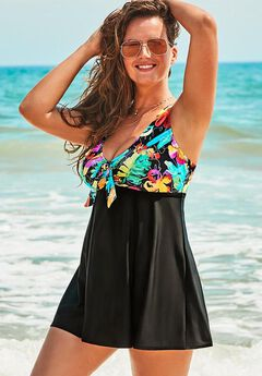 Tie Front V-Neck Swimdress,