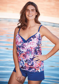 Two-In-One Blouson Tankini Top, MULTI FLORAL