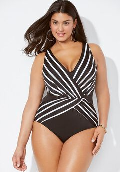 Verge Plunge Surplice One Piece Swimsuit,