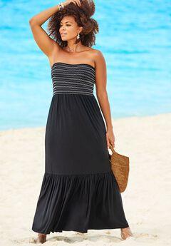 Karlie Smocked Bandeau Maxi Dress Cover Up,
