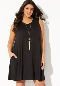 Cover Up Dress with Pockets, BLACK