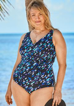 Front-Tie One-Piece with Wrap Detail,