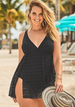 Crochet Side Slit V-Neck Swimdress, NEW BLACK