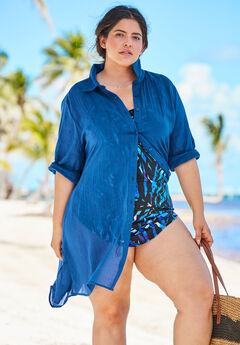 Button-Front Swim Cover Up, DREAM BLUE