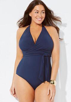 Faux Wrap Halter One Piece Swimsuit,