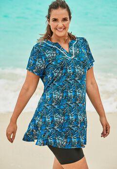 Short-Sleeve Swim Tunic, BLUE PALMS