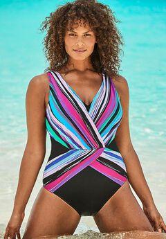 Plunge Surplice One Piece Swimsuit,