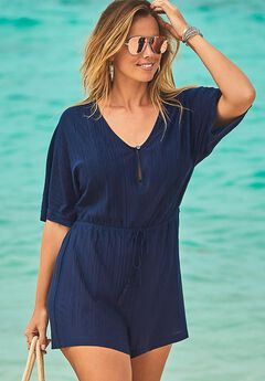 Beach Cover Up Romper, NAVY