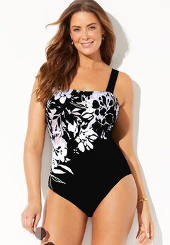 Square Neck Engineered One Piece Swimsuit,