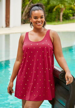 Studded Trapeze Swim Dress,
