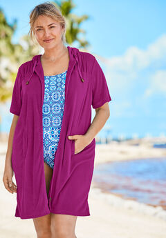 Hooded Terry Swim Cover Up, BRIGHT FUCHSIA