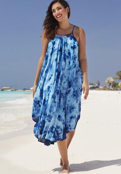 Kite Dress Cover Up, BLUE TIE DYE