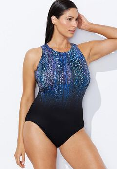 Open-Back Swimsuit, NEW BLUE RAINDROPS