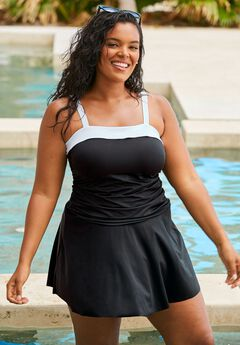 Contrast Band Swim Dress, BLACK WHITE