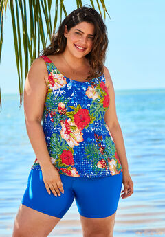 Classic Tankini Top, DREAM BLUE TROPICAL