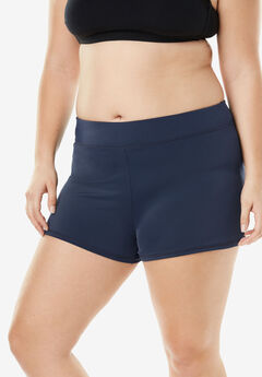 Wide-Band Swim Short with Built-In Brief, NAVY