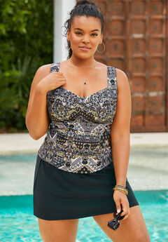Ruched Twist Front Tankini Top,