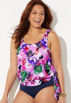 Side Tie Blouson Tankini Top,