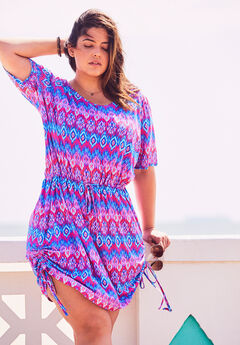 Tie-Waist Swim Coverup, MULTI IKAT