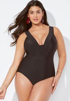 Mesh V-Neck One Piece Swimsuit,