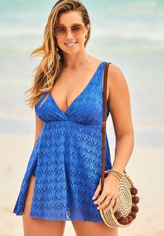 Crochet Side Slit V-Neck Swimdress,