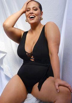 Ashley Graham Rebel Lace Up One Piece Swimsuit,