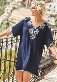 Regina Embroidered V-Neck Cover Up Tunic,