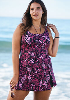 Side-Slit Swim Dress,
