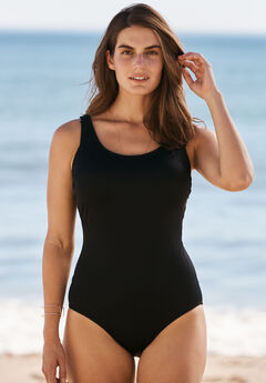 One-Piece Tank Swimsuit with Adjustable Straps, BLACK